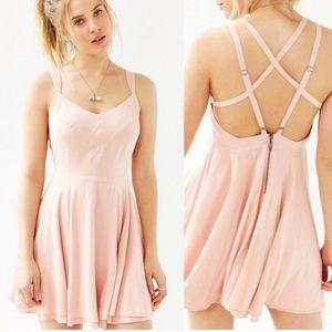 Kimchi Blue | Pink Mini Dress w/ Crisscross Straps